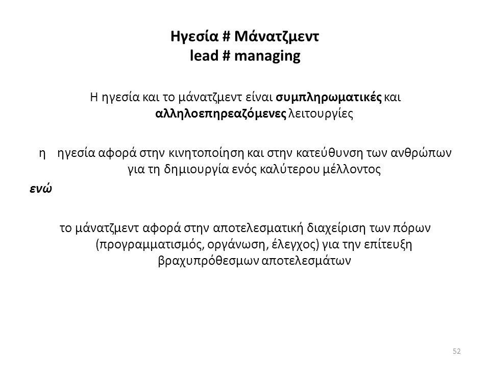 Ηγεσία # Μάνατζμεντ lead # managing