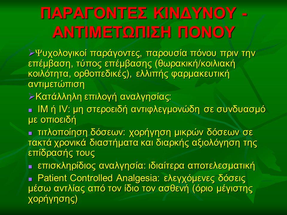 ΠΑΡΑΓΟΝΤΕΣ ΚΙΝΔΥΝΟΥ - ΑΝΤΙΜΕΤΩΠΙΣΗ ΠΟΝΟΥ