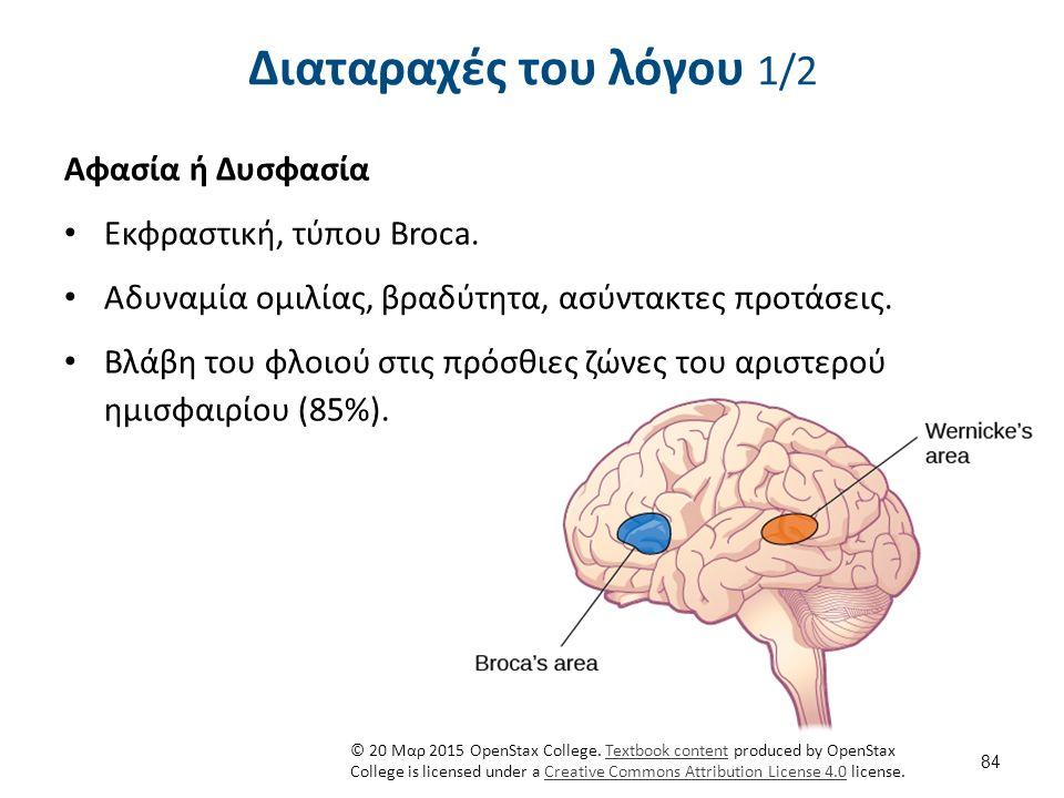 Διαταραχές του λόγου 2/2 Αφασία ή Δυσφασία Αντιληπτική, τύπου Wernick.