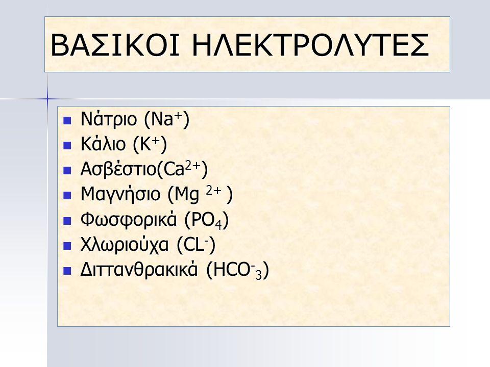 ΒΑΣΙΚΟΙ ΗΛΕΚΤΡΟΛΥΤΕΣ Νάτριο (Νa+) Kάλιο (Κ+) Ασβέστιο(Ca2+)