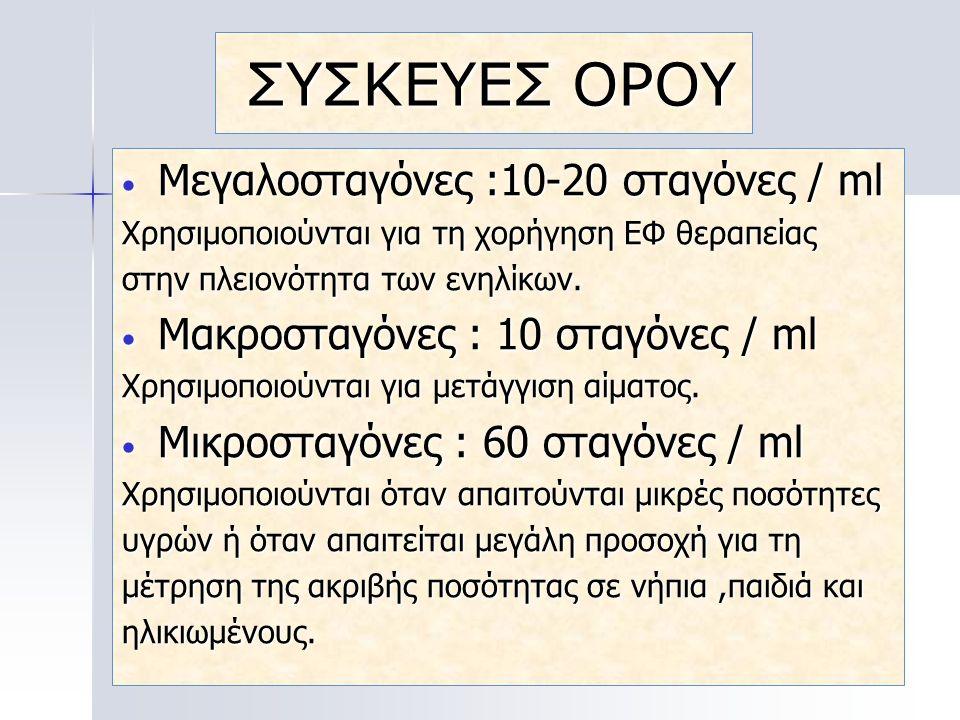 ΣΥΣΚΕΥΕΣ ΟΡΟΥ Μεγαλοσταγόνες :10-20 σταγόνες / ml