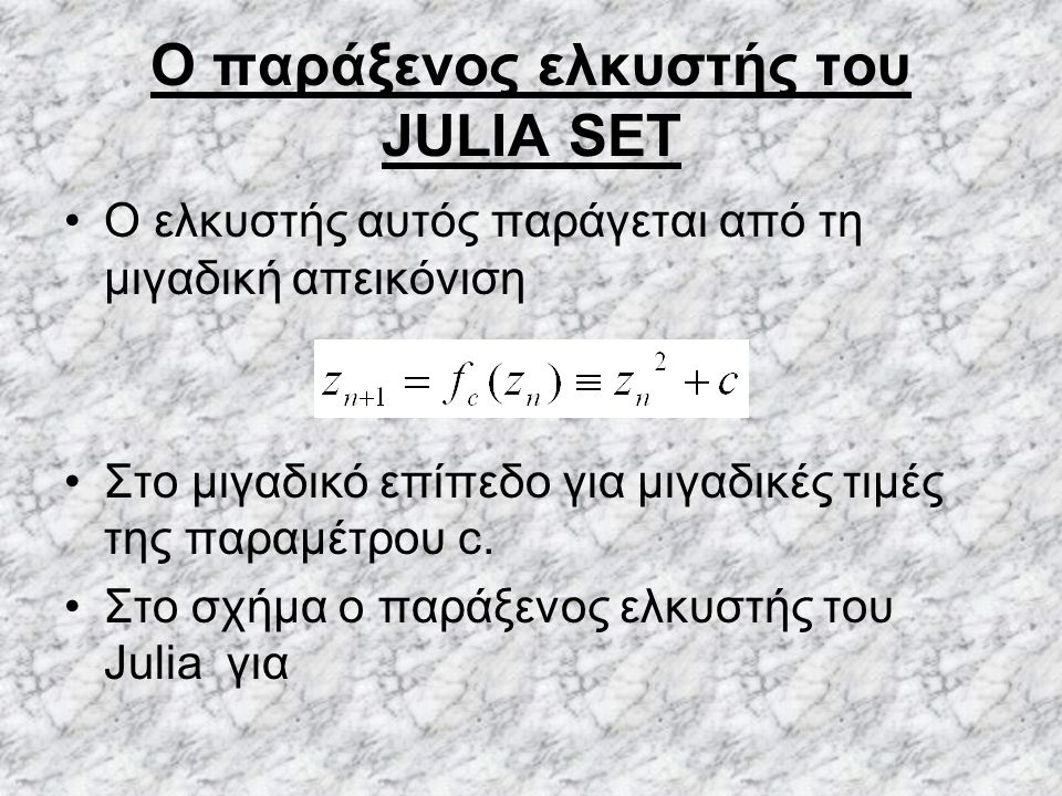 O παράξενος ελκυστής του JULIA SET