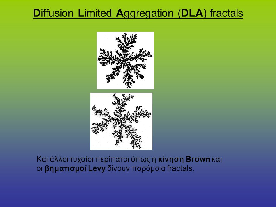 Diffusion Limited Aggregation (DLA) fractals