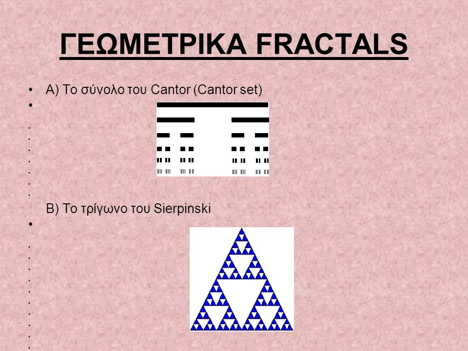 ΓΕΩΜΕΤΡΙΚΑ FRACTALS A) To σύνολο του Cantor (Cantor set)