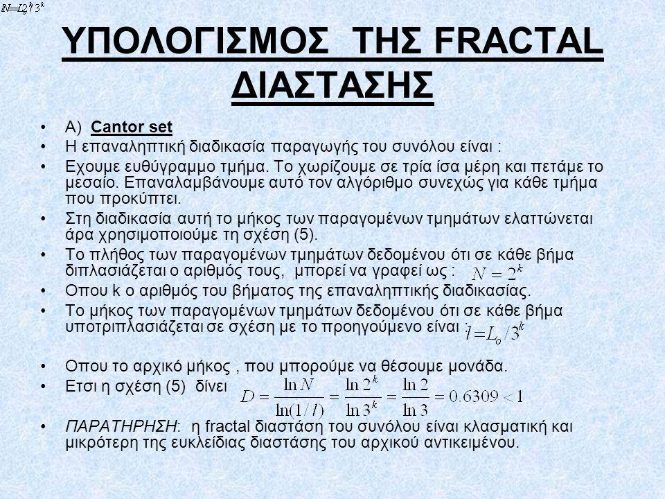 ΥΠΟΛΟΓΙΣΜΟΣ ΤΗΣ FRACTAL ΔΙΑΣΤΑΣΗΣ