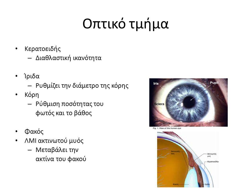 Οπτικό τμήμα Κερατοειδής Διαθλαστική ικανότητα Ίριδα