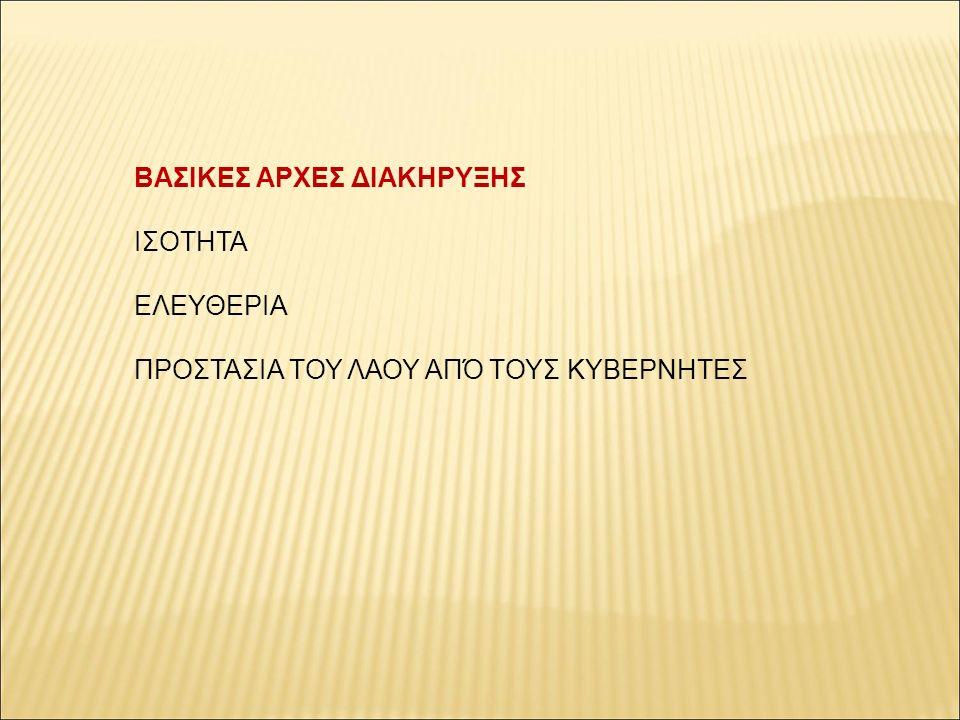 ΒΑΣΙΚΕΣ ΑΡΧΕΣ ΔΙΑΚΗΡΥΞΗΣ