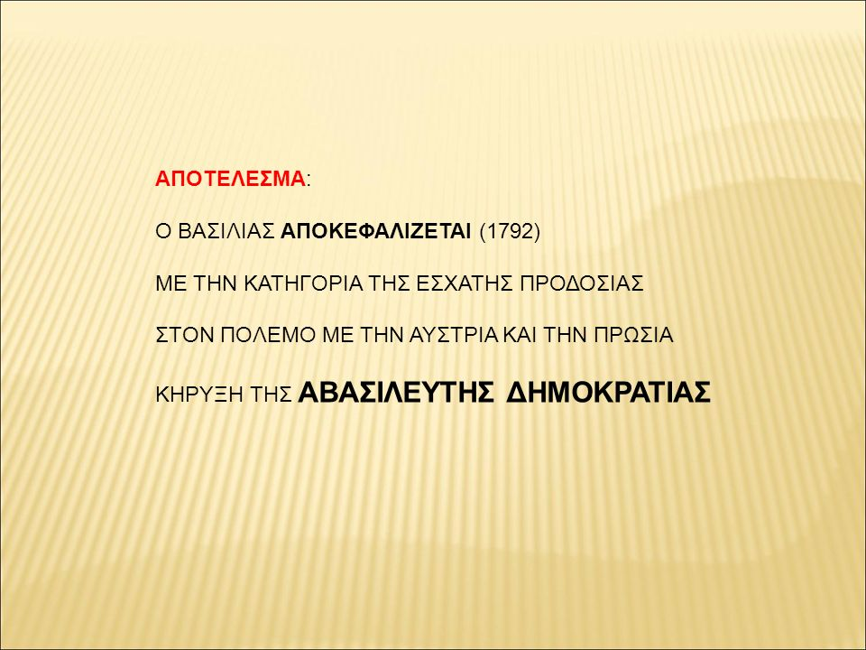 ΑΠΟΤΕΛΕΣΜΑ: Ο ΒΑΣΙΛΙΑΣ ΑΠΟΚΕΦΑΛΙΖΕΤΑΙ (1792) ΜΕ ΤΗΝ ΚΑΤΗΓΟΡΙΑ ΤΗΣ ΕΣΧΑΤΗΣ ΠΡΟΔΟΣΙΑΣ. ΣΤΟΝ ΠΟΛΕΜΟ ΜΕ ΤΗΝ ΑΥΣΤΡΙΑ ΚΑΙ ΤΗΝ ΠΡΩΣΙΑ.
