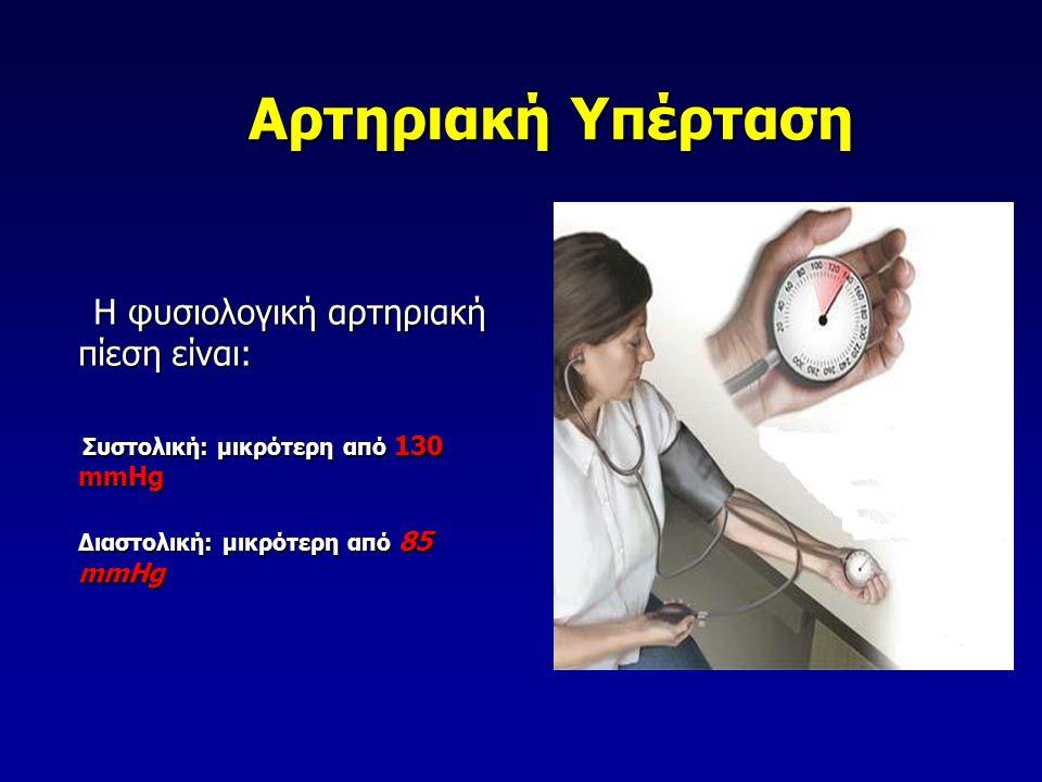 Αρτηριακή Υπέρταση Η φυσιολογική αρτηριακή πίεση είναι: