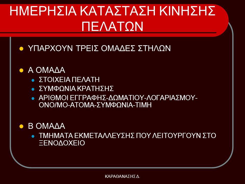 ΗΜΕΡΗΣΙΑ ΚΑΤΑΣΤΑΣΗ ΚΙΝΗΣΗΣ ΠΕΛΑΤΩΝ