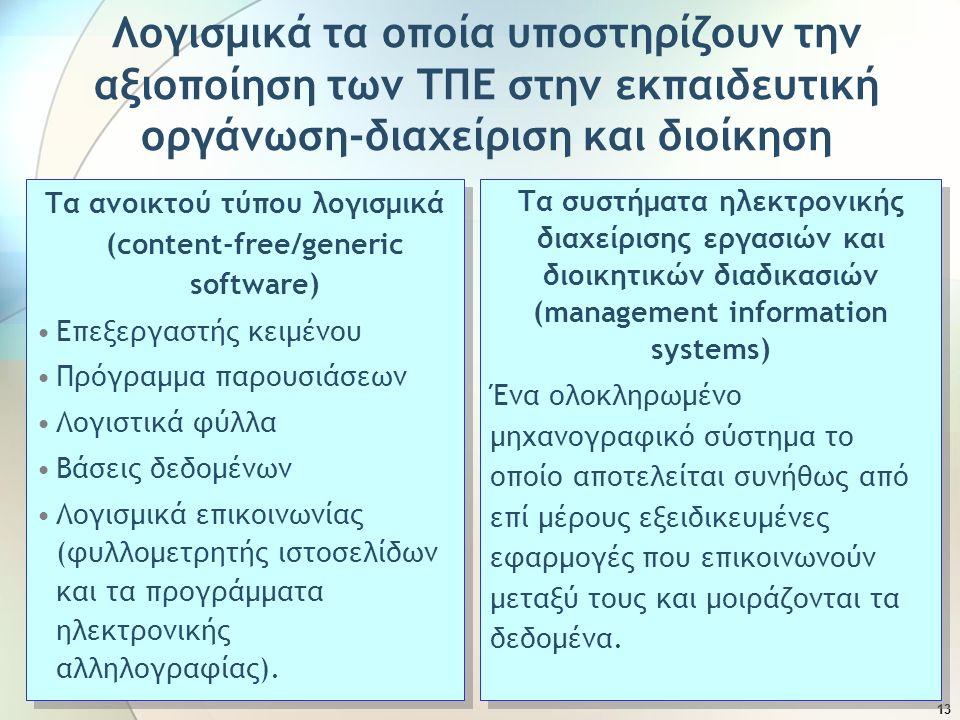 Τα ανοικτού τύπου λογισμικά (content-free/generic software)