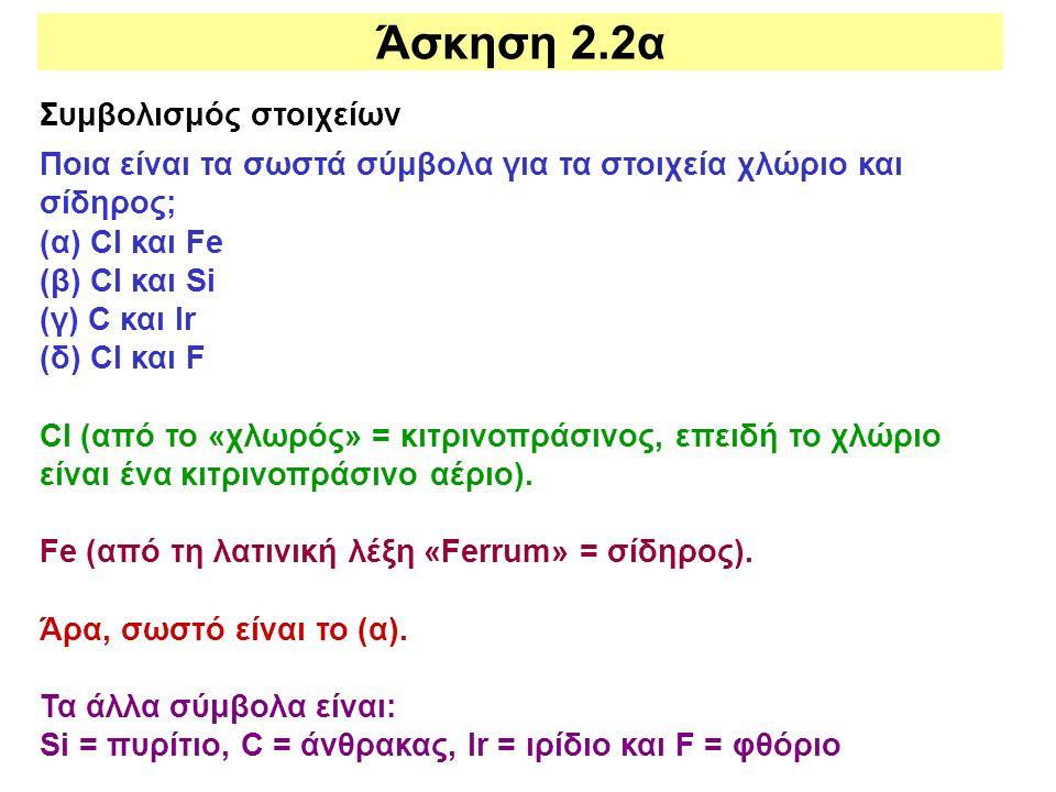 Άσκηση 2.2α Συμβολισμός στοιχείων