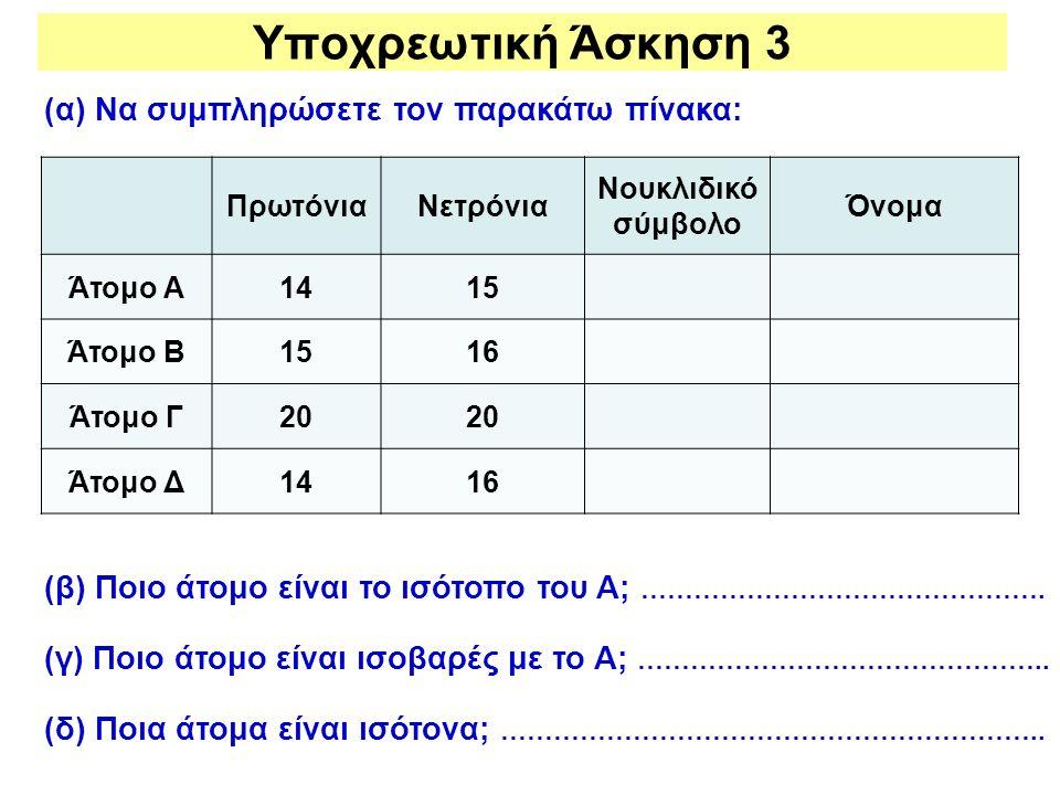Υποχρεωτική Άσκηση 3 (α) Να συμπληρώσετε τον παρακάτω πίνακα: