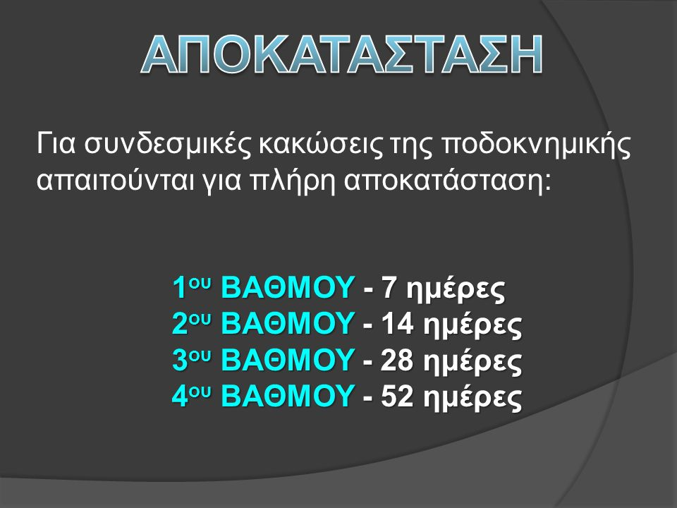 ΑΠΟΚΑΤΑΣΤΑΣΗ Για συνδεσμικές κακώσεις της ποδοκνημικής απαιτούνται για πλήρη αποκατάσταση: 1ου ΒΑΘΜΟΥ - 7 ημέρες.