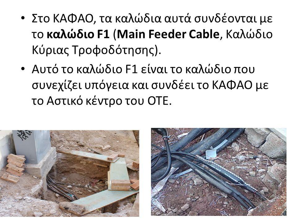 Στο ΚΑΦΑΟ, τα καλώδια αυτά συνδέονται με το καλώδιο F1 (Main Feeder Cable, Καλώδιο Κύριας Τροφοδότησης).