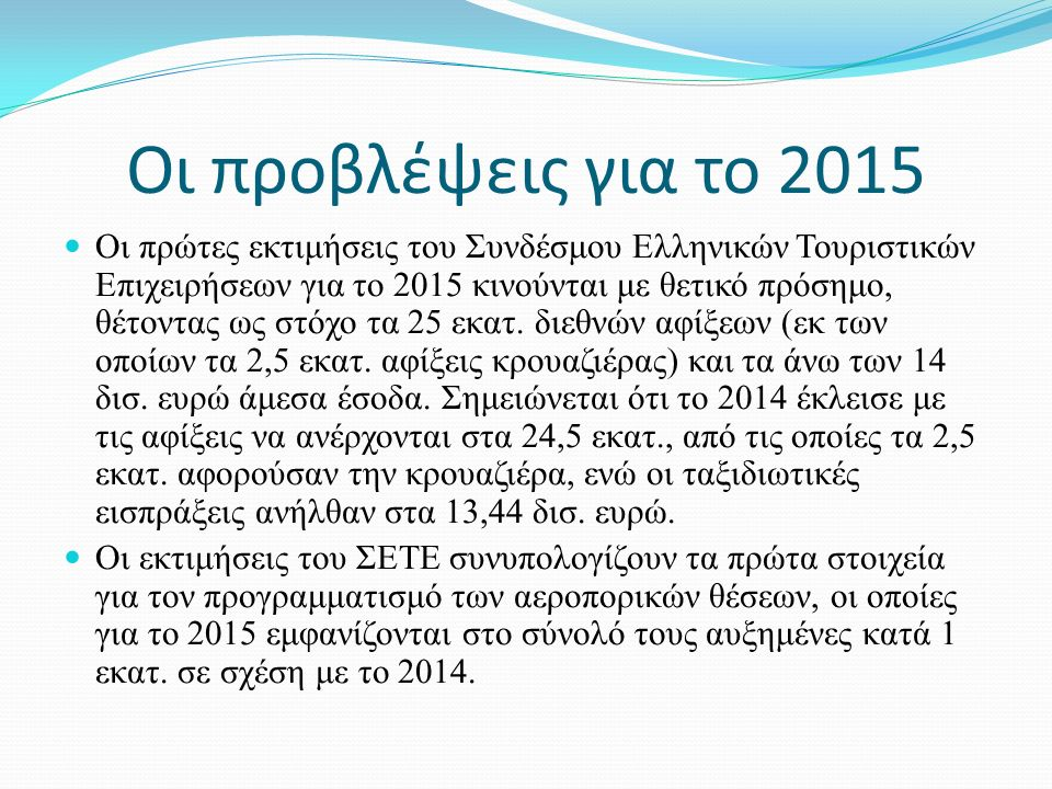 Οι προβλέψεις για το 2015