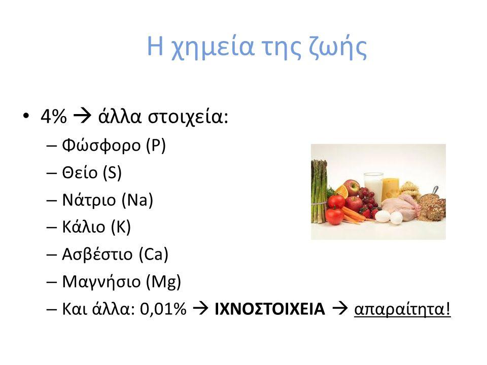 Η χημεία της ζωής 4%  άλλα στοιχεία: Φώσφορο (P) Θείο (S) Νάτριο (Na)