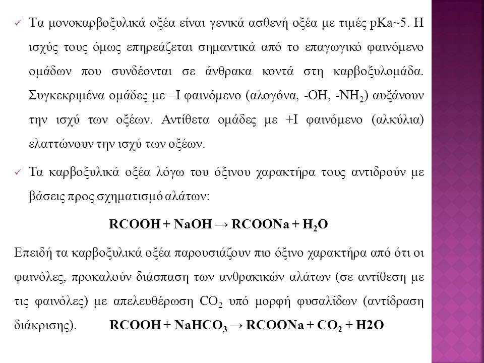 RCOOH + NaOH → RCOONa + H2O