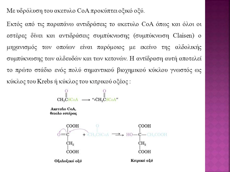 Με υδρόλυση του ακετυλο CoA προκύπτει οξικό οξύ