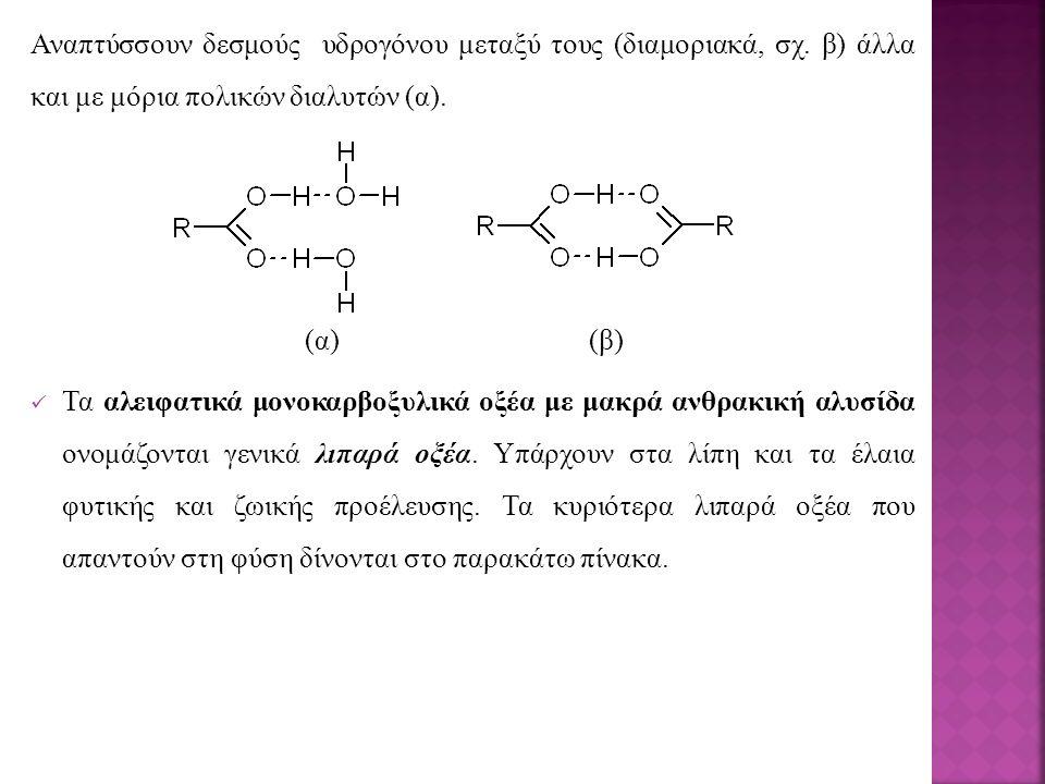 Αναπτύσσουν δεσμούς υδρογόνου μεταξύ τους (διαμοριακά, σχ