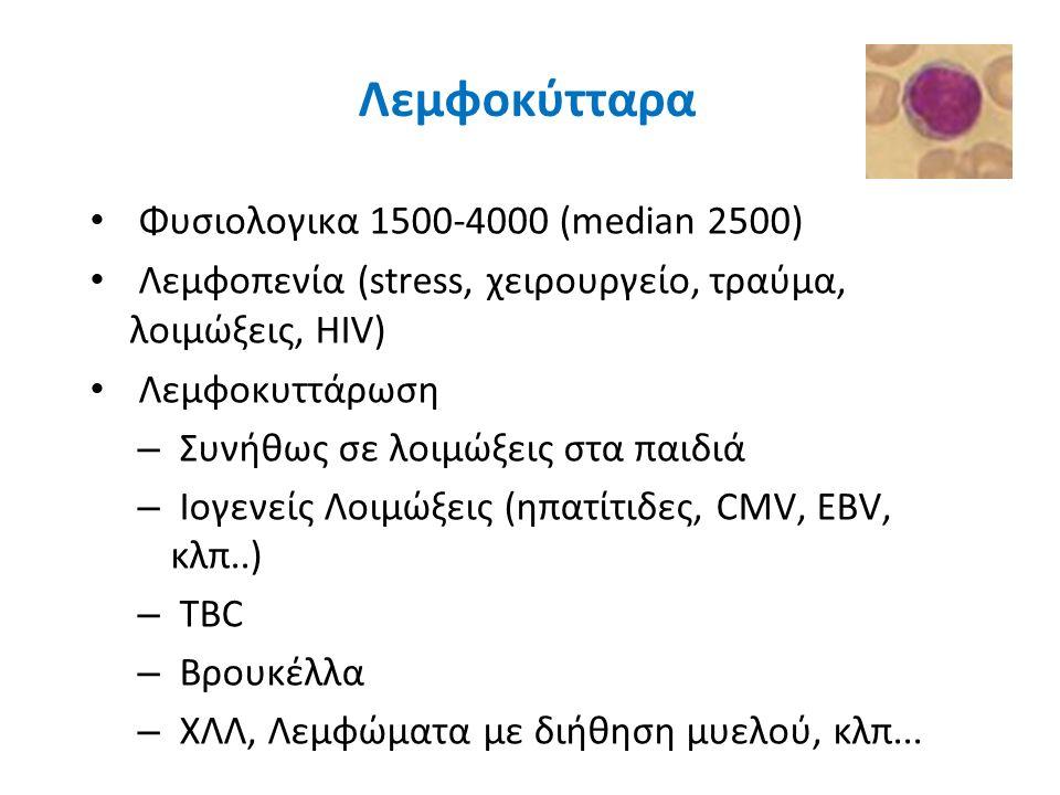 Λεμφοκύτταρα Φυσιολογικα 1500-4000 (median 2500)