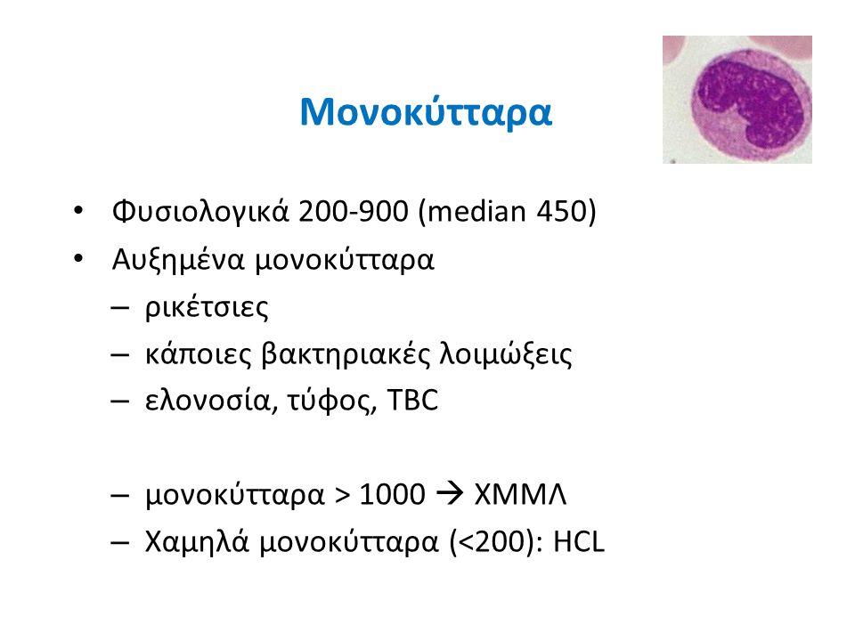 Μονοκύτταρα Φυσιολογικά 200-900 (median 450) Αυξημένα μονοκύτταρα