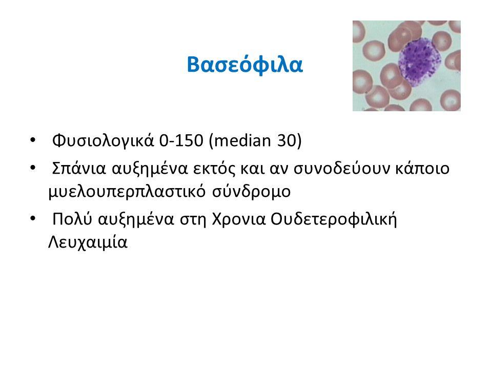 Βασεόφιλα Φυσιολογικά 0-150 (median 30)