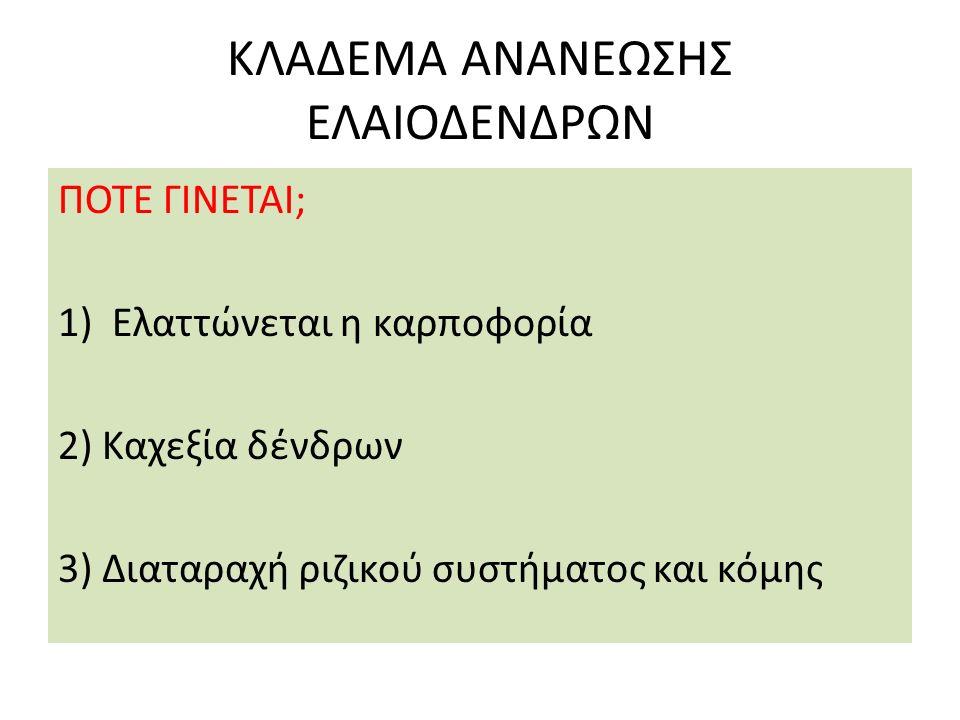 ΚΛΑΔΕΜΑ ΑΝΑΝΕΩΣΗΣ ΕΛΑΙΟΔΕΝΔΡΩΝ