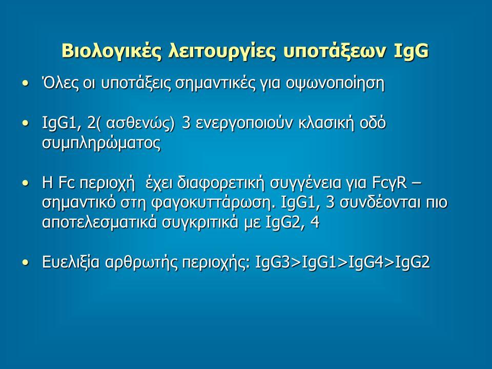 Βιολογικές λειτουργίες υποτάξεων IgG