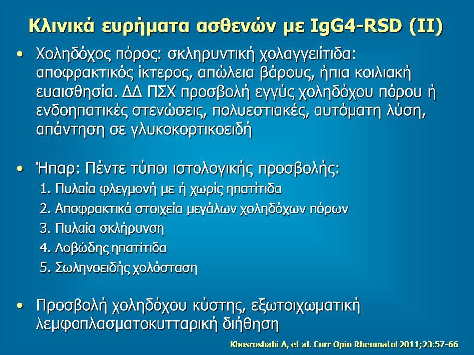 Κλινικά ευρήματα ασθενών με IgG4-RSD (ΙΙ)