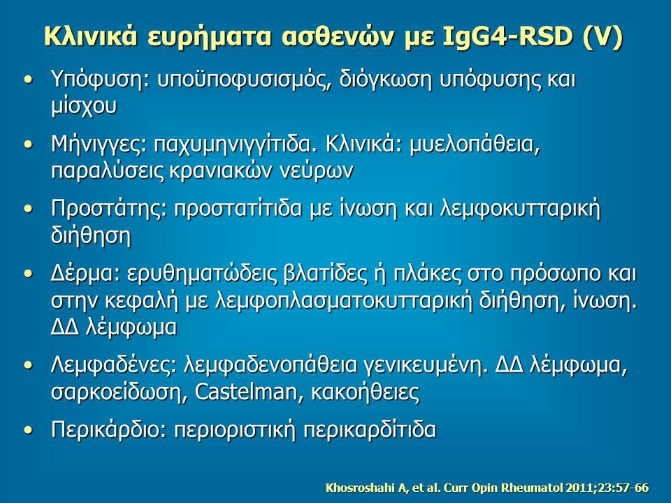 Κλινικά ευρήματα ασθενών με IgG4-RSD (V)