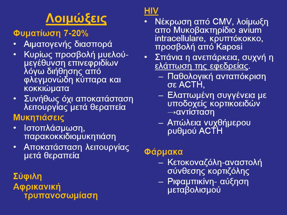 HIV Νέκρωση από CMV, λοίμωξη απο Μυκοβακτηρίδιο avium intracellulare, κρυπτόκοκκο, προσβολή από Kaposi.