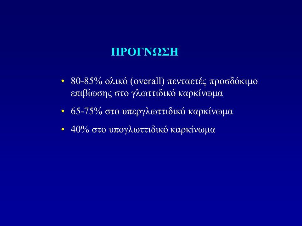 ΠΡΟΓΝΩΣΗ 80-85% ολικό (overall) πενταετές προσδόκιμο επιβίωσης στο γλωττιδικό καρκίνωμα. 65-75% στο υπεργλωττιδικό καρκίνωμα.