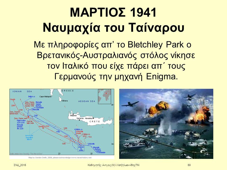 ΜΑΡΤΙΟΣ 1941 Ναυμαχία του Ταίναρου