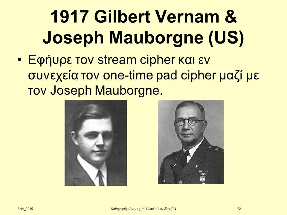 1917 Gilbert Vernam & Joseph Mauborgne (US)