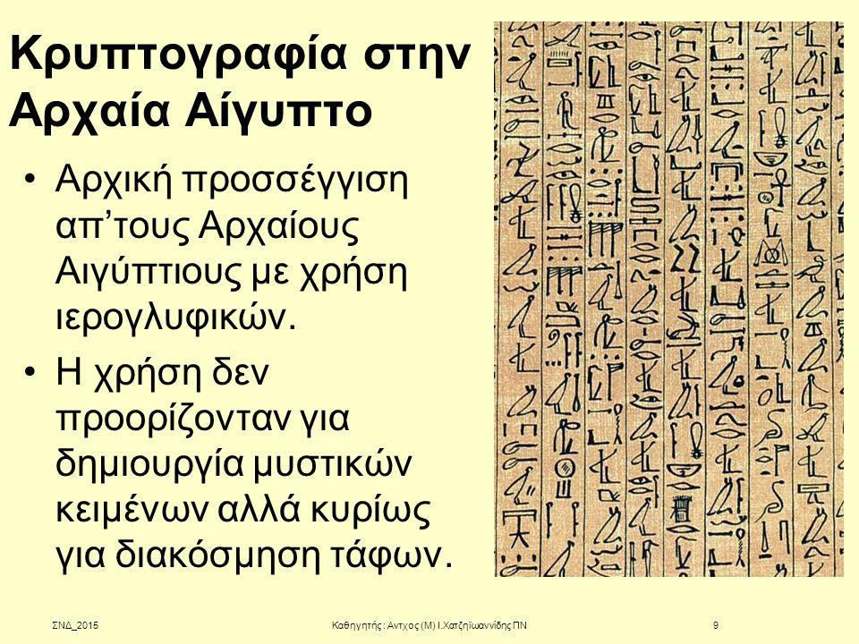 Κρυπτογραφία στην Αρχαία Αίγυπτο