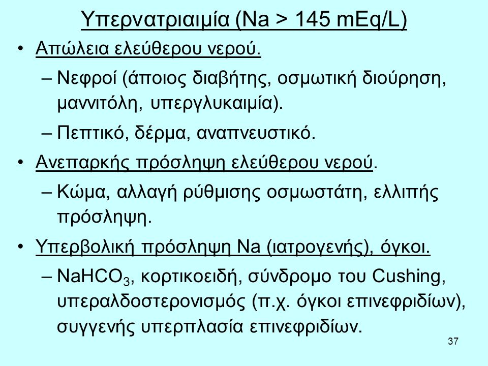 Υπερνατριαιμία (Na > 145 mEq/L)