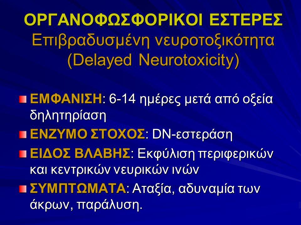 ΟΡΓΑΝΟΦΩΣΦΟΡΙΚΟΙ ΕΣΤΕΡΕΣ Επιβραδυσμένη νευροτοξικότητα (Delayed Neurotoxicity)