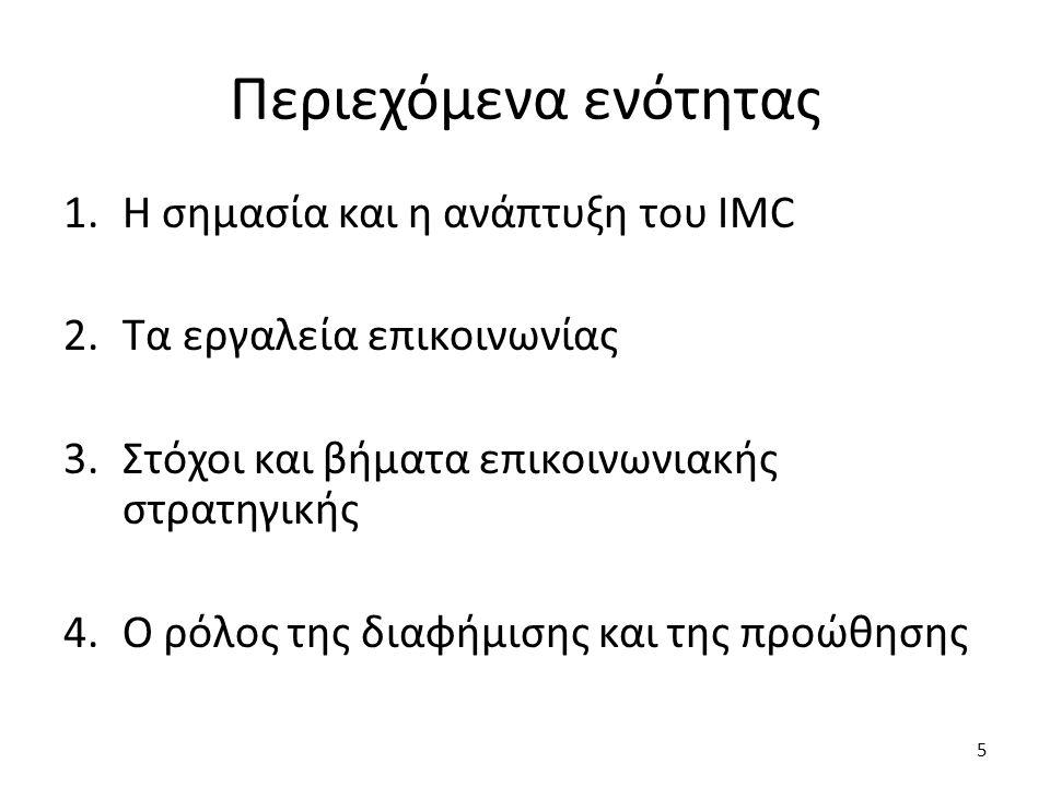Περιεχόμενα ενότητας Η σημασία και η ανάπτυξη του IMC