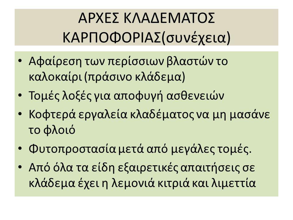 ΑΡΧΕΣ ΚΛΑΔΕΜΑΤΟΣ ΚΑΡΠΟΦΟΡΙΑΣ(συνέχεια)