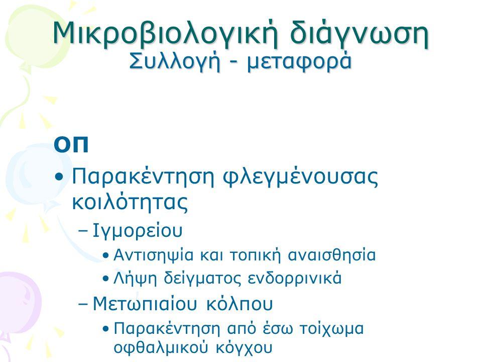 Μικροβιολογική διάγνωση Συλλογή - μεταφορά