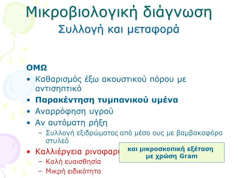 Μικροβιολογική διάγνωση Συλλογή και μεταφορά