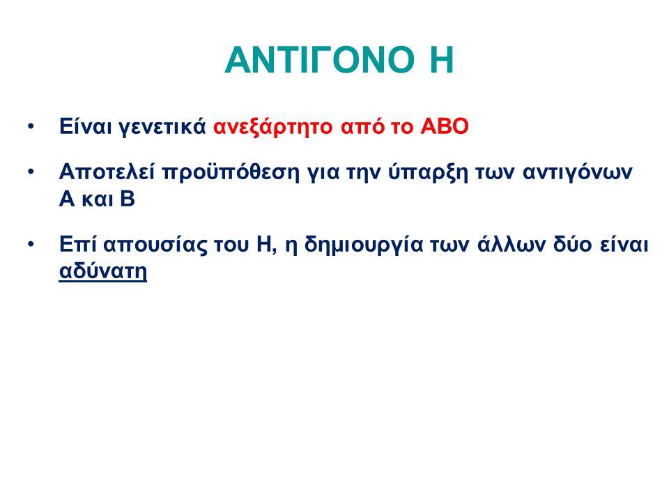 ΑΝΤΙΓΟΝΟ H Είναι γενετικά ανεξάρτητο από το ΑΒΟ