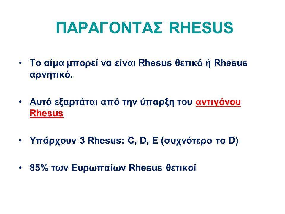 ΠΑΡΑΓΟΝΤΑΣ RHESUS Το αίμα μπορεί να είναι Rhesus θετικό ή Rhesus αρνητικό. Αυτό εξαρτάται από την ύπαρξη του αντιγόνου Rhesus.