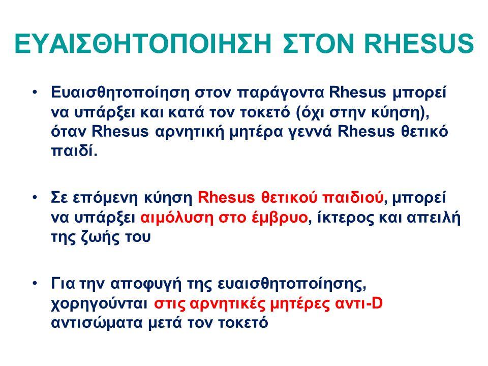 ΕΥΑΙΣΘΗΤΟΠΟΙΗΣΗ ΣΤΟΝ RHESUS