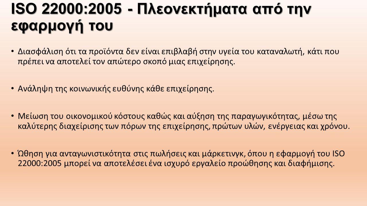 ISO 22000:2005 - Πλεονεκτήματα από την εφαρμογή του