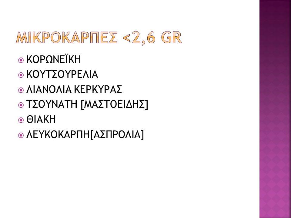 Μικροκαρπεσ <2,6 gr ΚΟΡΩΝΕΪΚΗ ΚΟΥΤΣΟΥΡΕΛΙΑ ΛΙΑΝΟΛΙΑ ΚΕΡΚΥΡΑΣ