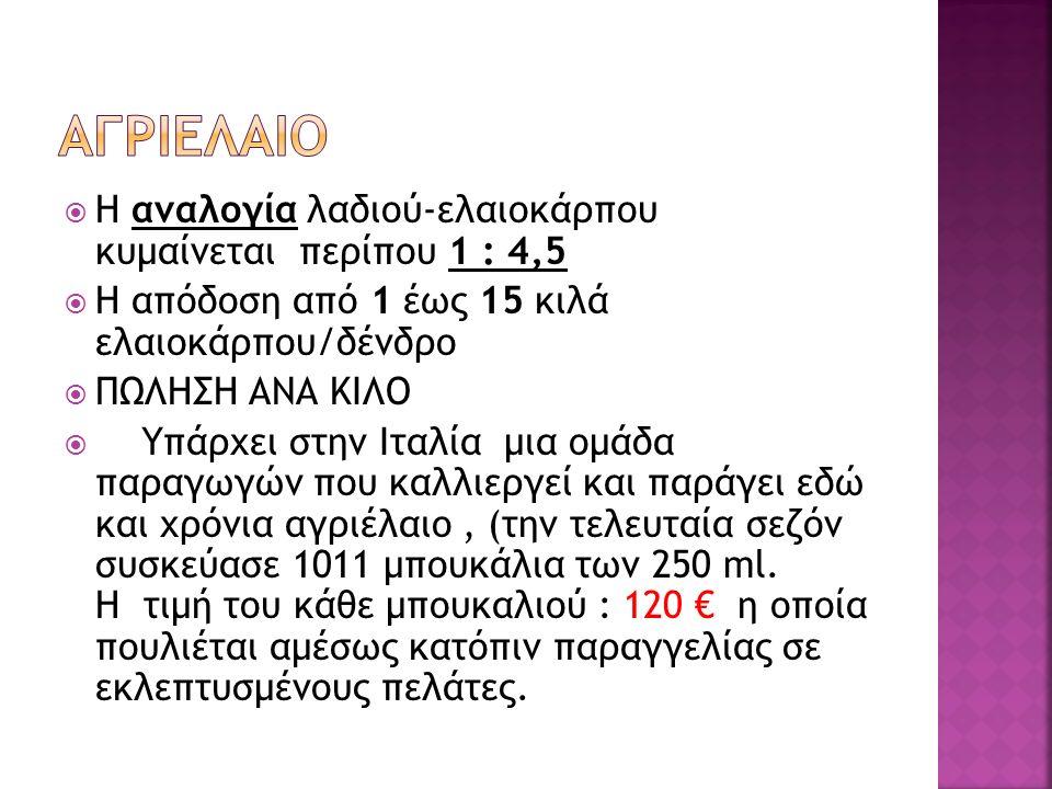 ΑΓΡΙΕΛΑΙΟ Η αναλογία λαδιού-ελαιοκάρπου κυμαίνεται περίπου 1 : 4,5