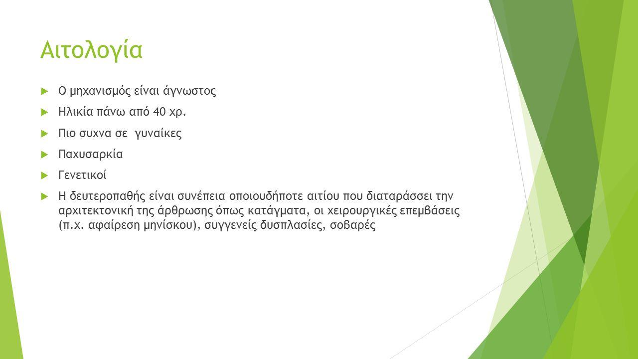 Αιτολογία Ο μηχανισμός είναι άγνωστος Ηλικία πάνω από 40 χρ.
