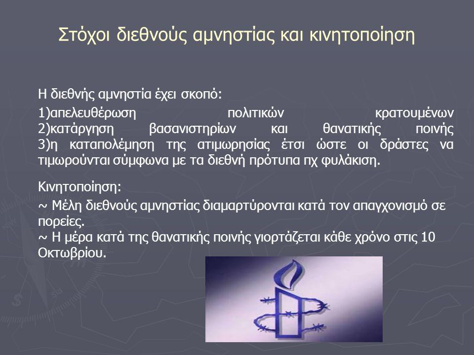 Στόχοι διεθνούς αμνηστίας και κινητοποίηση